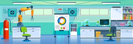 Empty modern laboratory with luxury equipment vector illustration. Investigation on plant cartoon design. Board with colourful graphic. Science and research concept Illustration