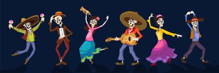 Day of dead dancing people in holiday costumes vector illustration. Cheerful crowd signing songs and celebrate flat style. Mexican halloween concept. Isolated on navy background 向量圖像