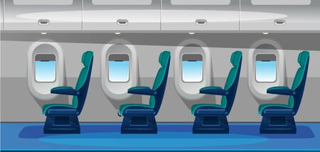 Empty airplane salon with comfortable seats vector illustration. Airplane interior design flat style. Business class seats with green chairs. Cozy places. Jet trip and vacation concept