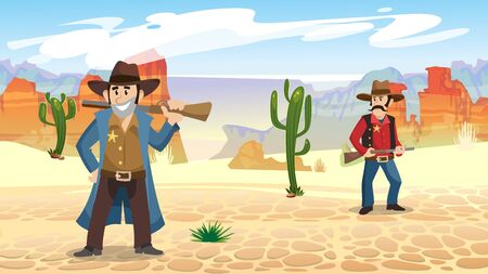 Seamless background with characters and guns vector illustration. Sheriff or cowboy in desert flat style. Wild west desert landscape with cactuses. Texas concept