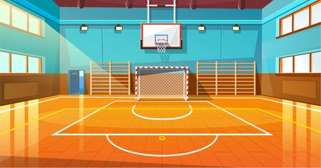 Shining basketball court with wooden floor vector illustration. Modern indoor stadium illuminated with spotlights cartoon design. Championship or tournament. Sport arena or hall for team games concept Illustration