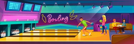 People playing bowling in luxury club on party vector illustration. Friends company relax in recreation area with skittles on lane cartoon design. Hobby and competition concept Illustration