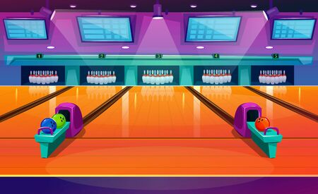 New modern bowling interior with pins and balls vector illustration. Empty club interior with skittles on lane flat style. Place for entertainment leisure and sport tournaments concept