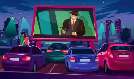 Watch cinema on big screen under open air vector illustration. Large movie screen glowing in darkness surrounded by cars flat style. Night city and romantic event concept Illustration