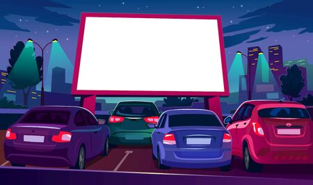 Outdoors car cinema with empty white screen vector illustration. Drive-in movie theater with open air parking flat style. Night city with glowing screen. Urban entertainment and film festival concept 向量圖像