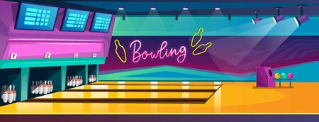 Empty bowling center or club with awesome interior design in cartoon style. Bowling competition banner with alleys, pins and balls.