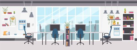 Open-space office or co-working interior design with furniture. Empty shared workplace with desks, chairs, computers and decorations. Vector illustration