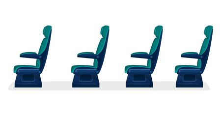 Row of empty passenger seats for public transport on white background. Aisle with business class, first class or economy seats concept for airplane, train or bus. blue color. 向量圖像