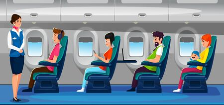 People flying on vacations.Airplane interior design with passengers and attendant side view. Guy in headphones, family with small child,woman reading on smartphone,guy with laptop vector illustration. 向量圖像