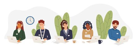Multicultural tech support employees in call center working on hotline, answering calls wearing hands free headsets. African american girl, indian sikh, guy, woman help customers vector illustration. 向量圖像