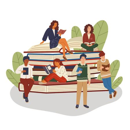 Pile or stack of books with multicultural group of people. Girls and boys book lovers. Students studying. Book festival, club or library poster. Autodidacts and self-education vector illustration. 向量圖像