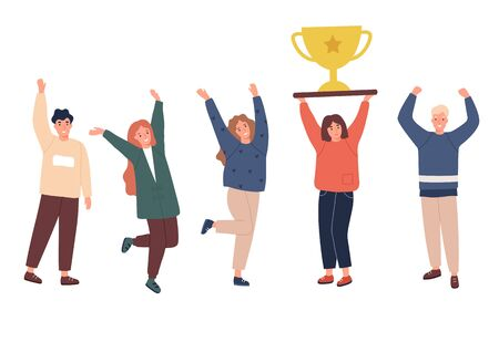 Team of workers celebrating their work success. Happy and excited young employees cheering their win. Girl holds golden trophy. Modern corporate goal achievement concept. Vector illustration.