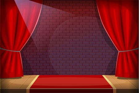 Performance stage in a bar or a club with red curtains and spotlight prepared for a night show. Night entertainment event scene concept. Red brick wall on the background and a red carpet on a wooden floor.