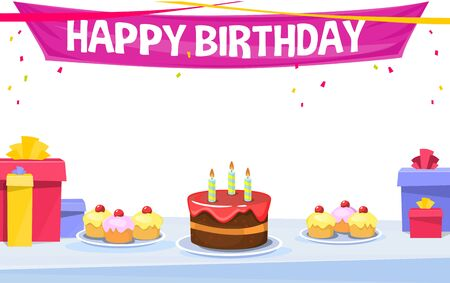 Happy birthday banner or greeting card template. A big birthday cake, sweats, presents and a red gift box on blue table. Pink happy birthday banner on top. Vector illustration on white background. 向量圖像