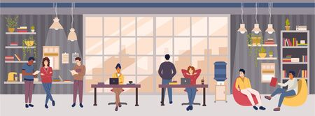 Open space office or co-working center interior design concept with people.Multicultural group of employees or freelancers working at their workplaces, conduct meeting and relaxing vector illustration