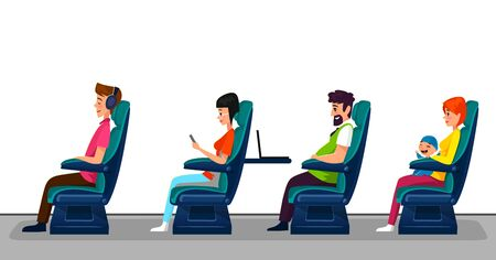 Passengers seating in comfortable public transport seats. Bus, train or airplane with people concept. Family with a kid, man with a laptop, woman with smartphone and a guy in headphones travelling in first class.
