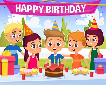 Birthday party illustration with happy kids in caps partying on the open air and a table with gift boxes, cake, cupcakes and other sweets. Boy and girl siblings celebrating birthday with friends, Happy birthday banner on the background.