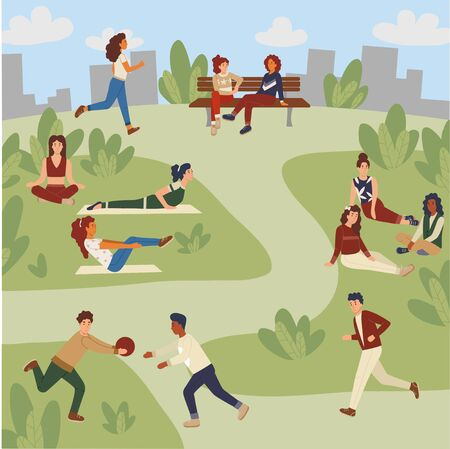 Women doing yoga, siting on a bench, guys playing with a ball, people jogging. Modern park activities poster. vector illustration