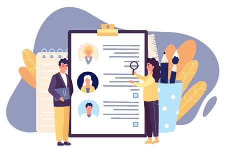 HR workers looking for the best candidate among job applicants who suits company best. Man and woman reviewing cv applications before hiring new employee. Recruitment concept vector illustration. 向量圖像