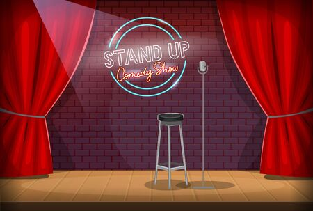 Stand-up empty stage. Scene of a comedy club with microphone, red curtains, chair and stand-up comedy show logo on a red brick wall,