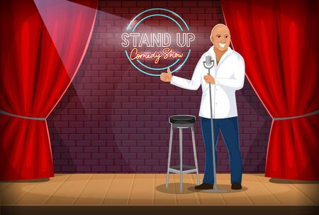 Stand-up comedian performing gig on stage. Smiling cartoon character on scene with microphone joking and entertaining on a night show Red curtains and wooden floor. Stand-up comedy show logo on the brick wall.