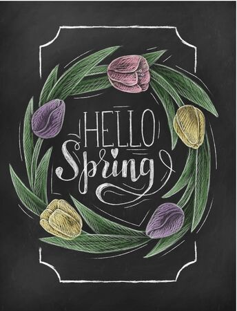 Hello spring chalkboard banner with tulip flowers vector illustration. Decorative calligraphy inscription with flowering plants. Elegant frame with phrase and bouquet