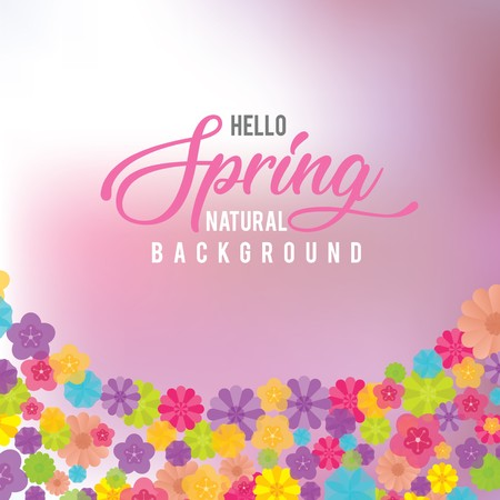 Soft pink spring background with colorful spring flowers in curved bottom border