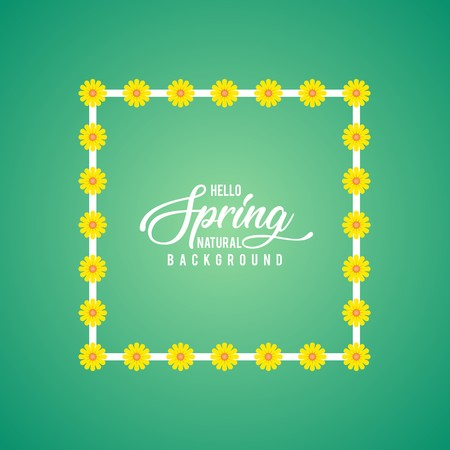 春のジェイドの背景に白いフレームを覆うひまわり  イラスト・ベクター素材