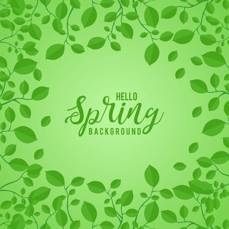 春の緑の背景の緑の葉