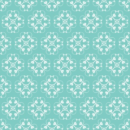 Jade Ornamental Swirl Background with Off White Illustration