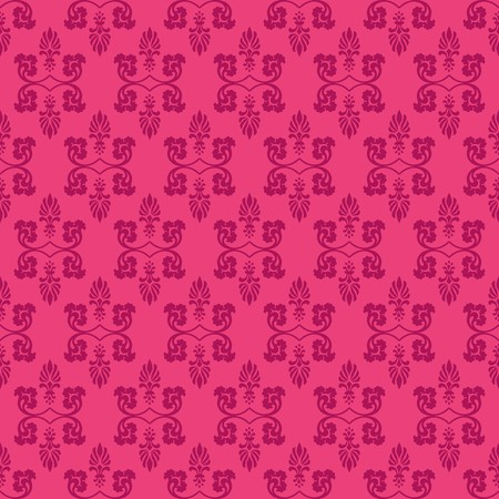Hot Pink Ornamental Swirl Background with Aubergine Illustration