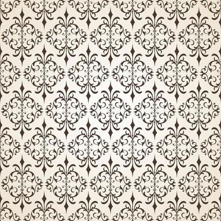 Off White Ornamental Swirl Background with Esperesso