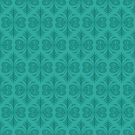Dark green Gothic seamless pattern over jade ornamental swirl background