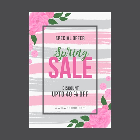 Grey and pink spring poster with brush strokes and black frame with pink roses in corners