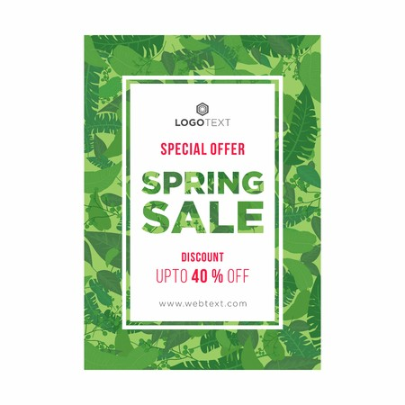 Leafy green spring poster with white frame in center and red and white typography