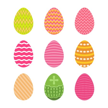 Set of easter eggs in pastel colors with zigzag pattern Illustration