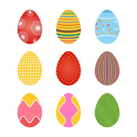 Set of spring colored easter eggs with dots and lines