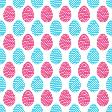 Seamless Pattern of decorative easter eggs with zigzag lines having pastel shades in blue and pink Illustration