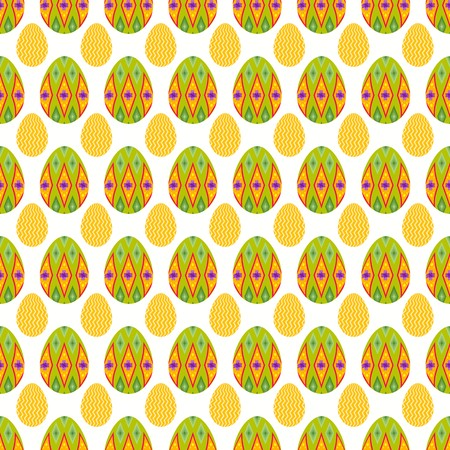 Seamless pattern of lime boho eggs with glimpse of small zigzag eggs for easter event.