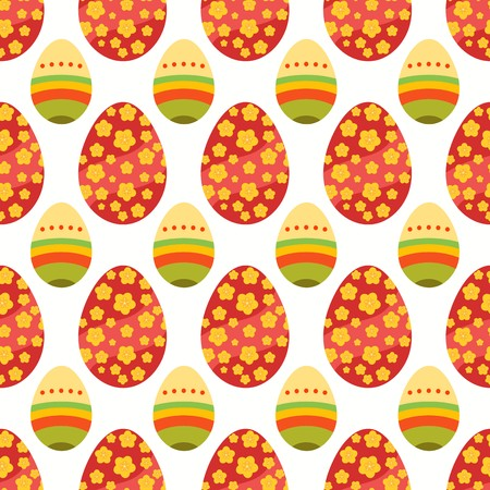 Seamless pattern of maroon and yellow floral easter eggs with smaller layered decorative eggs Illustration