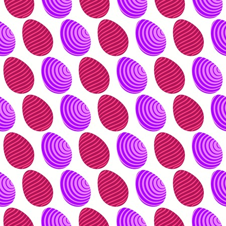 Seamless pattern of purple and maroon eggs with tilted and wavy abstract lines Illustration