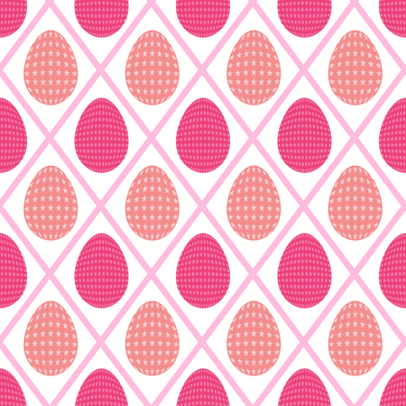 Seamless pattern of starry eggs enclosed in a diamond shaped background with sharp and peach pink shades. Illustration