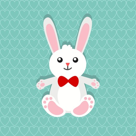 Easter greetings with cute dewy eyed bunny on a beautiful jade shaded heart pattern