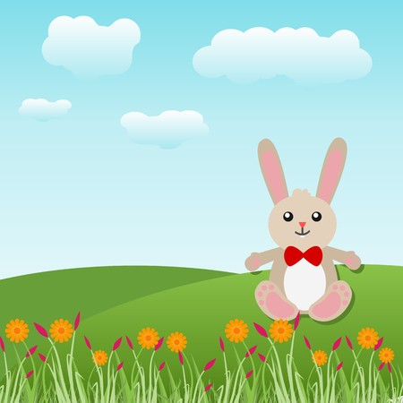 Cute grey easter bunny over grassy plain and spring flowers with sky and clouds background