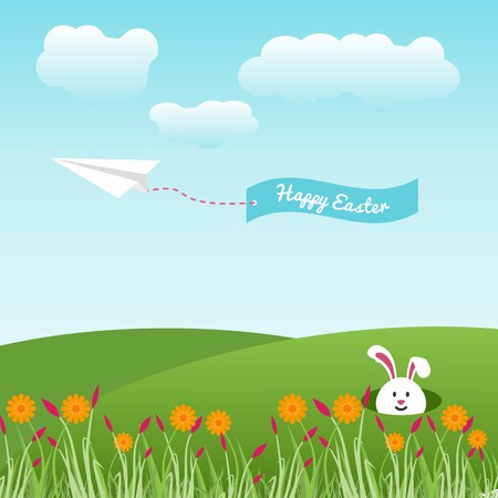 Happy easter message in blue ribbon with a white easter bunny over grassy plains and clouds in the sky