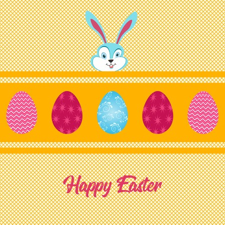 Easter eggs over yellow strip with blue bunny face and pink typography over crisscross yellow background