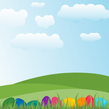 Grassy green plains having colorful easter eggs and grass in bottom having clouds and blue sky in background