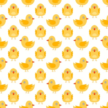 Seamless pattern of cute yellow chicks facing sideways and forward over creamy white background.