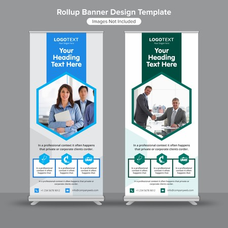 Hexagonal medical roll up banners