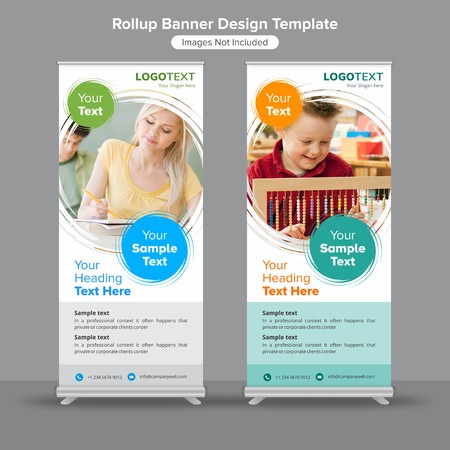 Education and growth roll up banners
